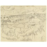 Letter to Theo van Gogh (with letter sketches Daubigny's Garden, Wheatfields, Thatched Cottages and Figures and Wheatfields)