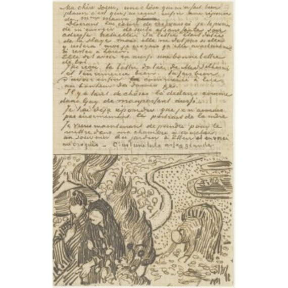 Letter to Willemien van Gogh (with letter sketches Reminiscence of the Garden at Etten and Woman Reading a Novel)
