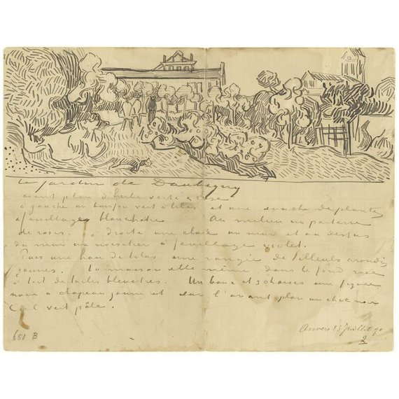 Letter to Theo van Gogh (with letter sketches Daubigny's Garden, Wheatfields, Thatched Cottages and Figures and Wheatfields) - Multimedia / Film / Video