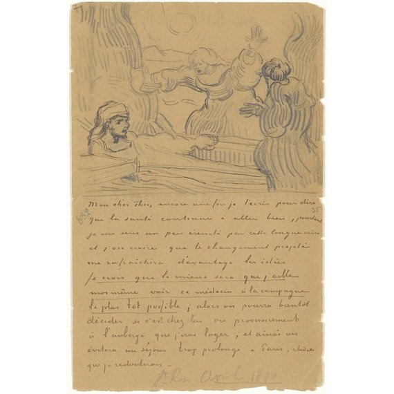 Letter to Theo van Gogh (with letter sketch The Raising of Lazarus (after Rembrandt)) - Multimedia / Film / Video