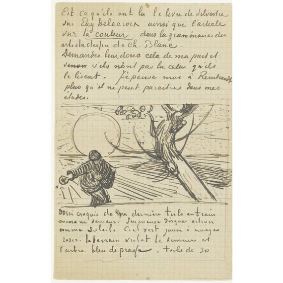 Letter to Theo van Gogh (with letter sketch Sower with Setting Sun - Card / A4 reproduction