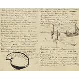 Letter to Theo van Gogh (with letter sketches Van Gogh's Palette and Beach at Scheveningen with Perspective Frame) - Card / A4 reproduction