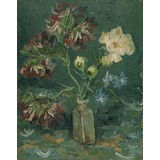 Small Bottle with Peonies and Blue Delphiniums - Card / A4 reproduction