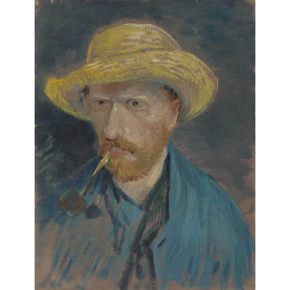 Self-Portrait with Straw Hat and Pipe - Card / A4 reproduction