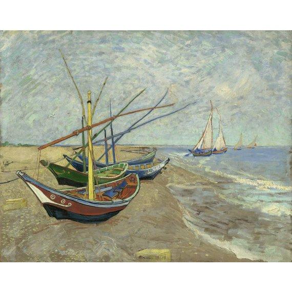 Fishing Boats on the Beach at Les Saintes-Maries-de-la-Mer - Card / A4 reproduction