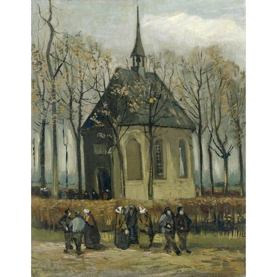 Congregation Leaving the Reformed Church in Nuenen - Card / A4 reproduction
