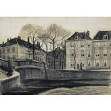 Bridge and Houses on the Corner of Herengracht-Prinsessegracht, The Hague - Card / A4 reproduction