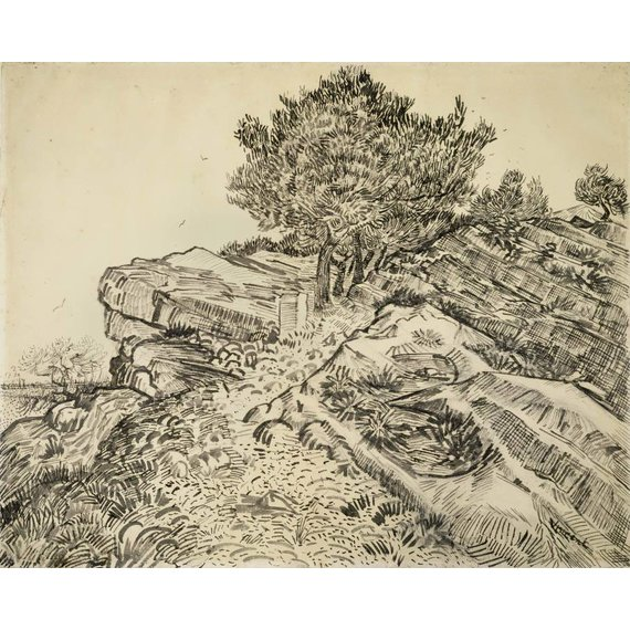 The Rock of Montmajour with Pine Trees - Card / A4 reproduction