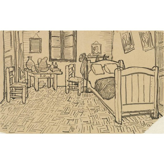 The Bedroom, enclosed Sketch in a Letter written to Theo van Gogh - Card / A4 reproduction