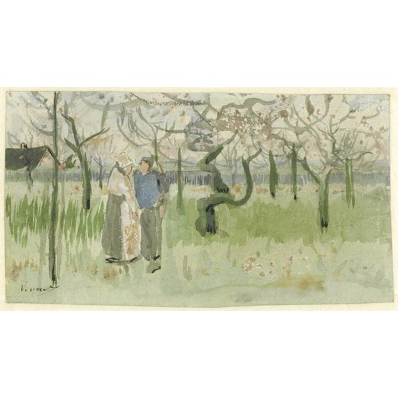 Orchard in Blossom with Two Figures: Spring - Card / A4 reproduction