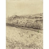 Mountain Landscape Behind the Walled Wheatfield - Card / A4 reproduction