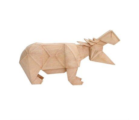 HK-living Nijlpaard geo naturel bruin hout 36x9x19,5cm