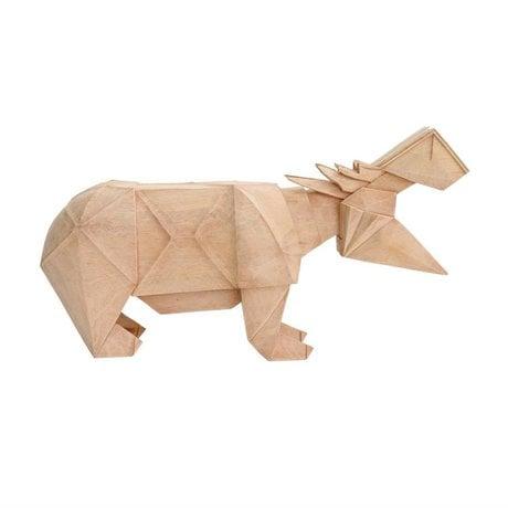HK-living Hippo geo natural brown wood 36x9x19,5cm