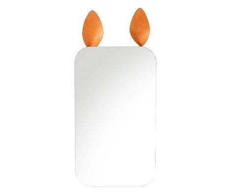 Ferm Living kids Kinderspiegel Rabbit bruin spiegelglas metaal leer 25x44cm