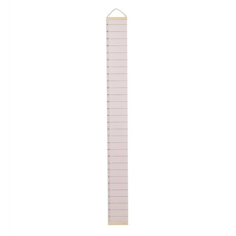 Ferm Living kids Kinder groeimeter lichtroze papier hout 15x1,5x122cm