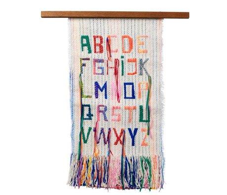 Ferm Living kids Children's wallcover ABC multicolour textile wood 33x61cm