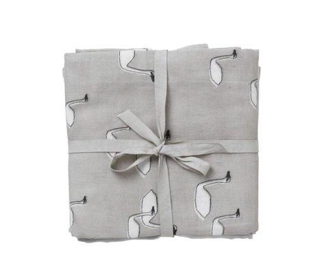 Ferm Living kids Hydrofiele doek muslin squares swan grijs katoen 70x70cm set van 3 stuks
