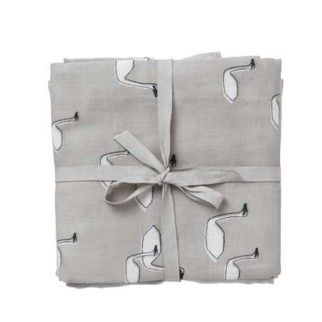 Ferm Living kids Hydrophilic cloth muslin squares swan gray cotton 70x70cm set of 3 pieces
