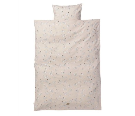 Ferm Living kids Children's Well-Swan pink cotton 110x140cm 46x40cm