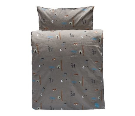 OYOY Children's Well Happy forrest gray brown organic cotton 100x140cm-40x45cm