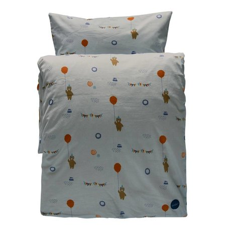 OYOY Children's Well Happy circus gray organic cotton 140x200cm-60x63cm