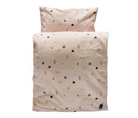 OYOY Kinderbeddengoed Happy summer lichtroze organisch katoen 140x200cm-60x63cm