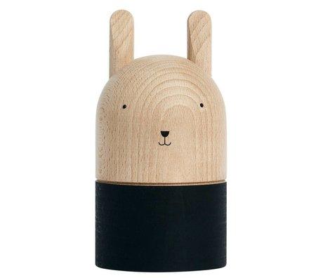 OYOY Spaarpot Ninka lichtbruin zwart hout 9,5x18,5cm