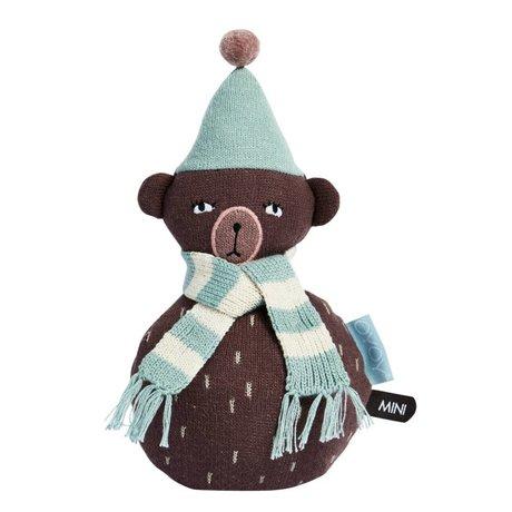 OYOY Roly-poly brown teddy blue cotton 12x22cm