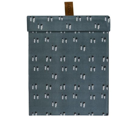 OYOY Storage box square blue cotton leather S 16,5x20,5x16,5cm