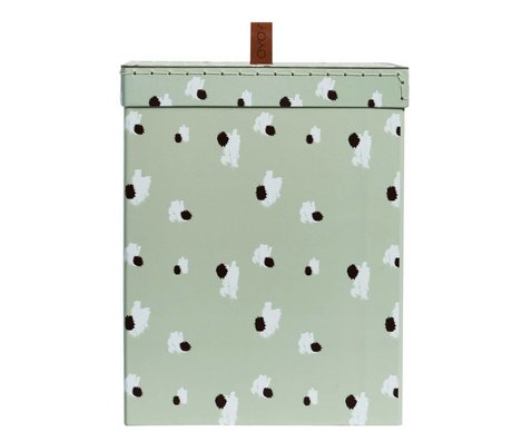 OYOY Storage box Square mint green cotton leather M 16,5x27x21cm