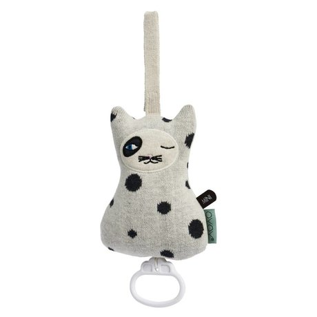 OYOY Mobile music Cat black and white cotton 17x12cm