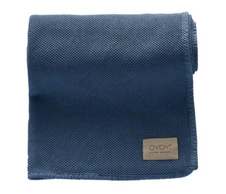 OYOY Baby deken Bobo blauw organisch katoen 80x100cm