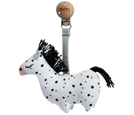 OYOY Cuddle with clip baby Horse black and white organic cotton 3x11x11,5cm