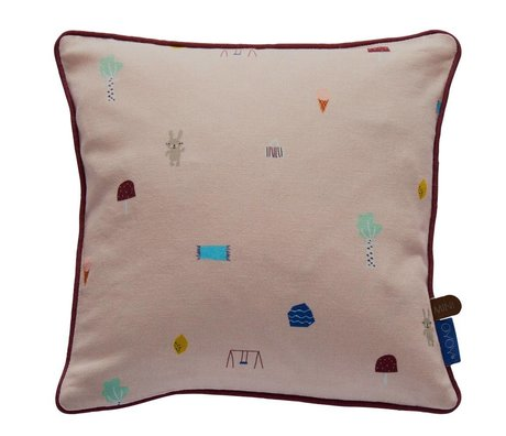 OYOY Throw Pillow Happy summer light pink organic cotton 30x30cm