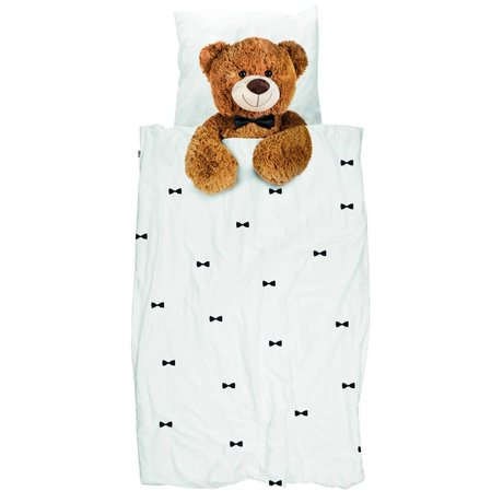 Snurk Beddengoed Kinderbeddengoed Teddy Bear wit bruin katoen 140x200/220cm-60x70cm