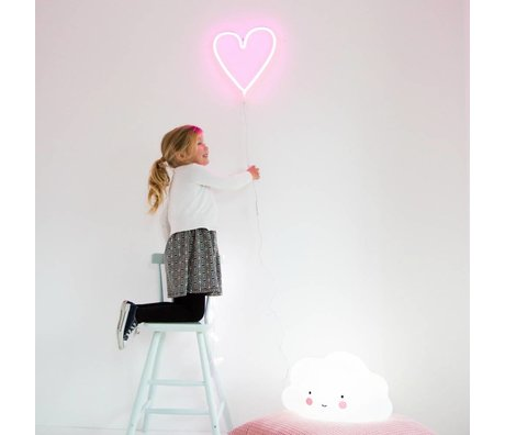 A Little Lovely Company Kids wall light neon pink plastic heart 29x30cm
