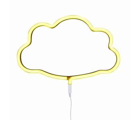 A Little Lovely Company Kids wall light cloud neon yellow plastic 38,5x24cm