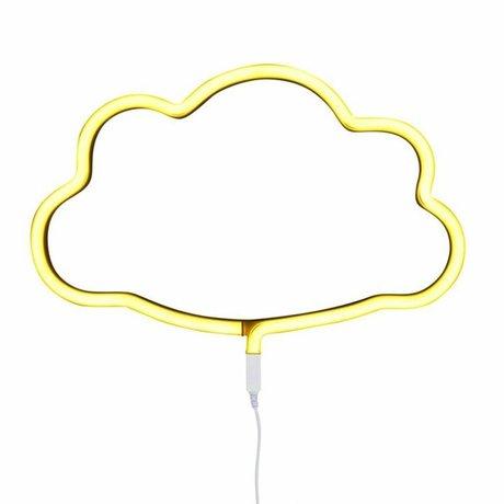 A Little Lovely Company Kinder wandlamp neon wolk geel kunststof 38,5x24cm