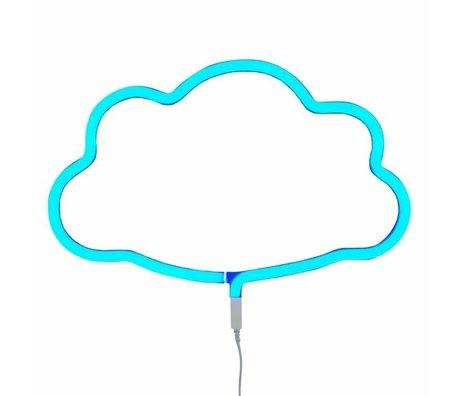A Little Lovely Company Children wall lamp neon cloud blue plastic 38,5x24cm
