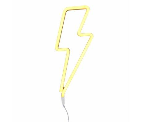A Little Lovely Company Kinder wandlamp neon bliksem geel kunststof 41x17cm