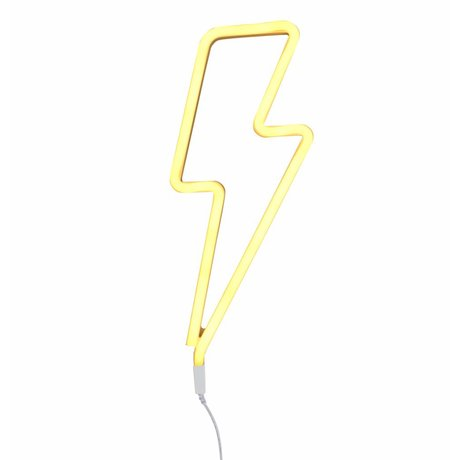 A Little Lovely Company Kids wall light lightning neon yellow plastic 41x17cm