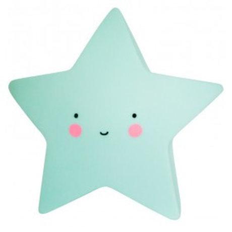 A Little Lovely Company Kinder tafellamp Ster mint groen 14,5x5,5x13,5cm