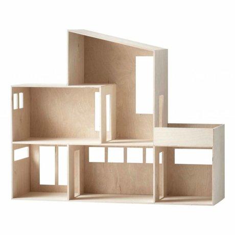 Ferm Living kids Kinderdisplay Funky huis lichtbruin hout 66,8x55,5x20cm