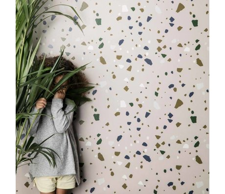 Ferm Living kids Terrazzo Behang roze papier 10x0,53m