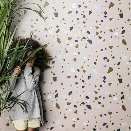 Ferm Living kids Terrazzo Wallpaper pink paper 10x0.53m