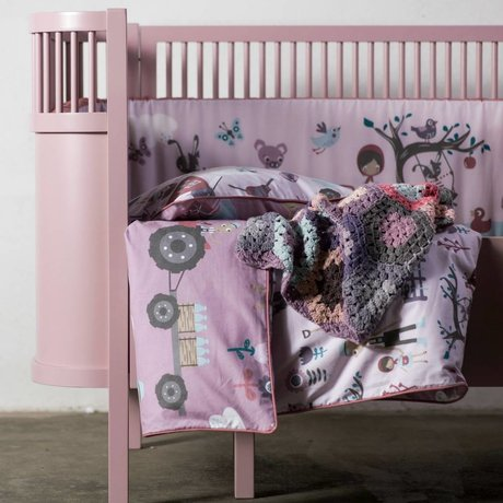 Sebra Baby bed Junior & Junior pink wood 112.5-155x70x88cm