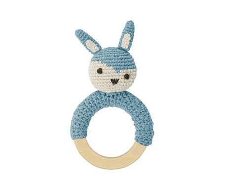 Sebra Rattle Rabbit blue cotton 15x8cm