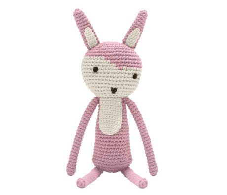 Sebra Stuffed rabbit pink cotton 34cm