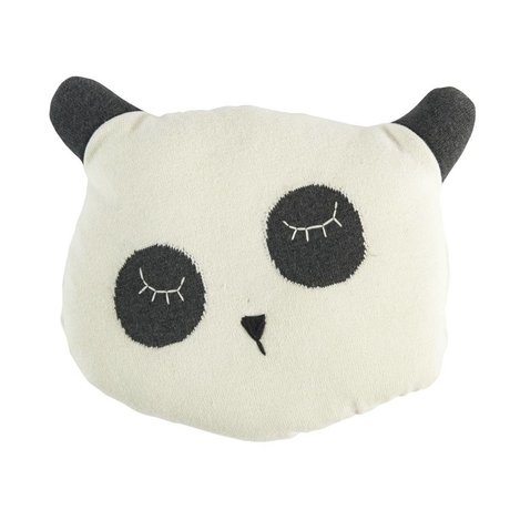 Sebra Cushion Panda white cotton 34x8x29cm