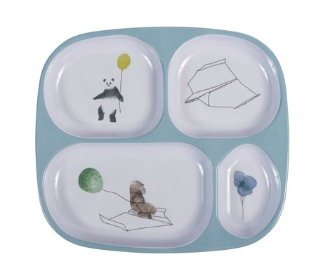 Sebra Children's plate In the sky blue four boxes melamine 24x21x2cm